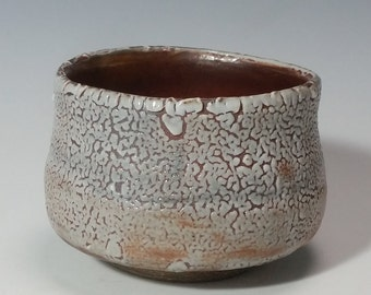Tea bowl with experimental shino glaze