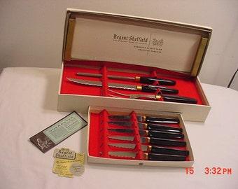 Vintage 9 Piece Regent Sheffield 24 K Gold Trimmed Cutlery Set In Original Box  17 - 183
