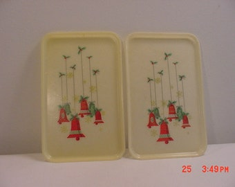 2 Vintage Christmas Holly & Bells Plastic Trays  17 - 378