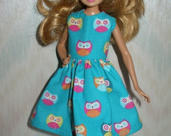 """Handmade 9"""" little sister fashion doll clothes - teal owl dress"""