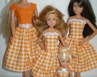 Handmade fashion doll clothes - 4 fashion doll sisters set orange and white plaid dresses