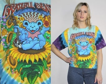 1990s Vintage Grateful Dead Psychedelic Bear Tye Dye  Festival Rock Band T Shirt - 90s Clothing - WV0039