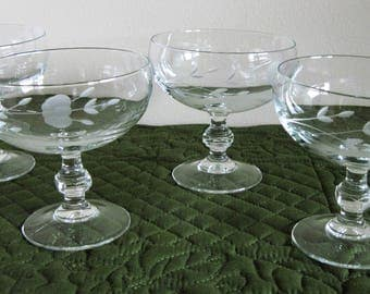4 Princess House Heritage Pattern Crystal Glass Floral Gray Cut Footed Dessert Bowls #507