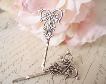 Vintage filigree bobby pins-medieval-shabby chic-steampunk-Victorian V036