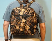 Backpack in  designer fabric brown gold beige paisley outdoor drapery upholstery from E Bay requested by customer