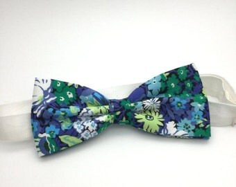 SALE Mens Floral Bow tie Green Blue Floral Classic Liberty Print Bow Tie Pre tied Men Women Boy Baby Country Wedding Shabby chic Groom Groom