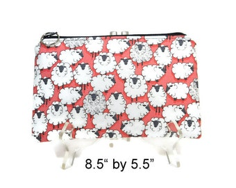 Sheep Zipper Pouch, Red Cosmetic Bag, Pencil Pouch, Accessory Bag, Gadget Case, E-Cig Case, Zip Bag, Padded Pouch
