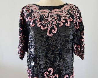 Vintage Raglan Black Floral PINK ROSES ARABESQUE Design Sequined Beaded Silk Top Blouse Street Style Fall 2017