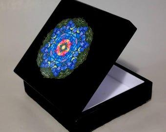 Music Box Keepsake Box Trinket Box Rainbow Rose Mandala Boho Sacred Geometry Hippie Kaleidoscope Unique Gift For Her Kaleidoscopic Symphony