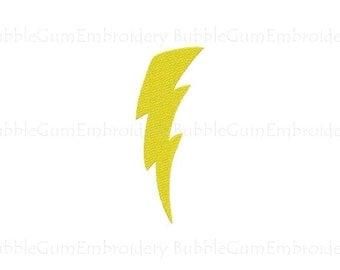 Curved Lightning Bolt Embroidery Design Instant Download