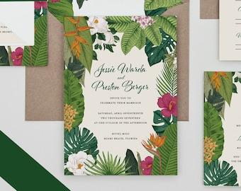 Tropical Destination Wedding Invitation,Beach Wedding Invite,Palm Tree Wedding Invite,Boho Tropical Wedding Invitation Set,Florida,Hawaii