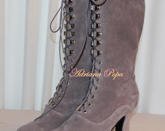 Stone colour Victorian shoes light Grey Victorian Boots in suede leather Pigeon grey Ankle Boots Granny boots  Historical shoes