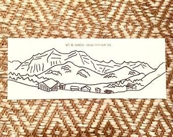 Adelboden, Switzerland - hand drawn panoramic print