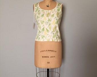SALE...fern print cotton tank top | 90s crop top