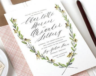 Rustic Floral Wedding Invitation, Botanical Invitation, Garden Wedding, Outdoor Wedding Invite - Flat Printed - Rustic Wreath - SAMPLE