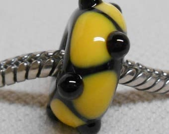 SRA, Glass Large Hole Lampwork Bead - Fits European Charm Bracelets Black with Yellow Design and Black Raised Dots