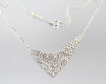 Rise Mesh Necklace, Sterling Silver by Ashley Childs
