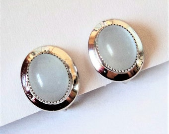 Sterling Moonglow Glass Earrings... c.1950s UNCAS... Silver-White... Screw-Back