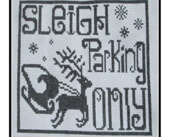 Christmas Sleigh Parking Cross Stitch PDF E pattern emailed Pattern Sampler Design 170