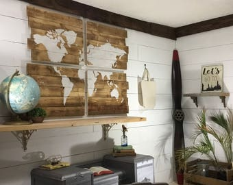 World Map Wood Map Large Travel Map Large World Map Wooden World