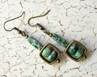 Green and White Mossy Agate Earrings (3428)