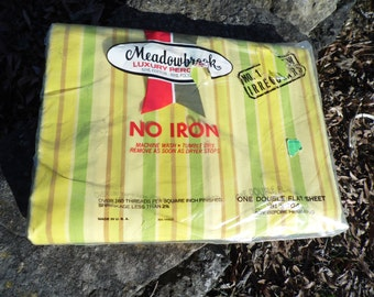 Meadowbrook vintage double flat sheet 81 x 104 NOS deadstock in original packag unopened striped in yellows, green, brown