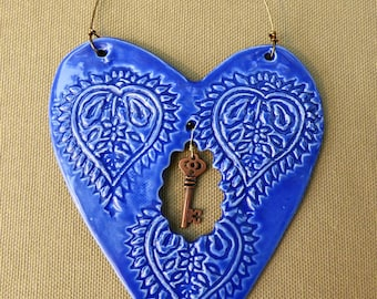 Blue heart, Blue Valentine heart, ceramic ornament, wall hanging, heart pottery, Brides maid gift, sweetheart gift, home decor, bff gift,