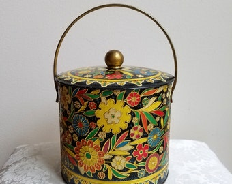 Vintage Tin With Embossed Bright Funky Flowers Gold Swing Handle, LARGE Round Metal Container Made In England, Bohemian Florals