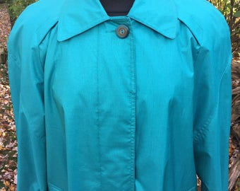 Vintage 80s London Fog Coat / Teal Raincoat