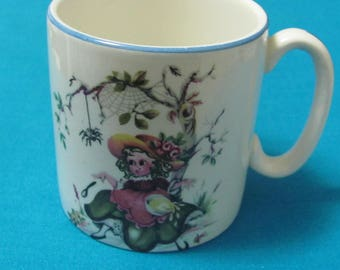 Vintage Little Miss Muffet Small Ceramic Mug Cup Nursery Rhyme Lord Nelson Pottery