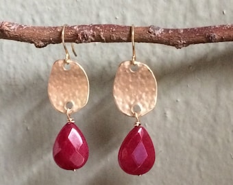 Red and gold earrings faceted stone Magenta Fuschia pink agate stone Drop earrings handmade earrings