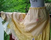 "sunshine skirt - bohemian - golden yellow - crochet - embroidery & silk - osfm  - up to 38 "" waist"