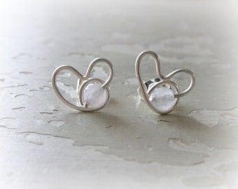 Rose Quartz Studs, Heart Earrings, Sterling Silver Posts, Sterling Heart Studs, Hypoallergenic, Rose Quartz Posts, Small Stud Earrings