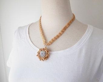 Irish Crochet Lace Jewelry (Camellia 4-b), Lace Necklace,Fiber Art Necklace, Crochet Necklace