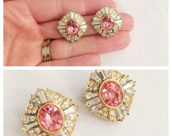 Oscar De La RENTA Pink Rhinestone Clip on Earrings- Gold, Signed OR, Designer Vintage jewelry