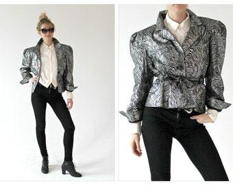 80s Metallic Biker Leather Jacket- Zebra, M, Avant Garde, Purple Rain, Glam Rock