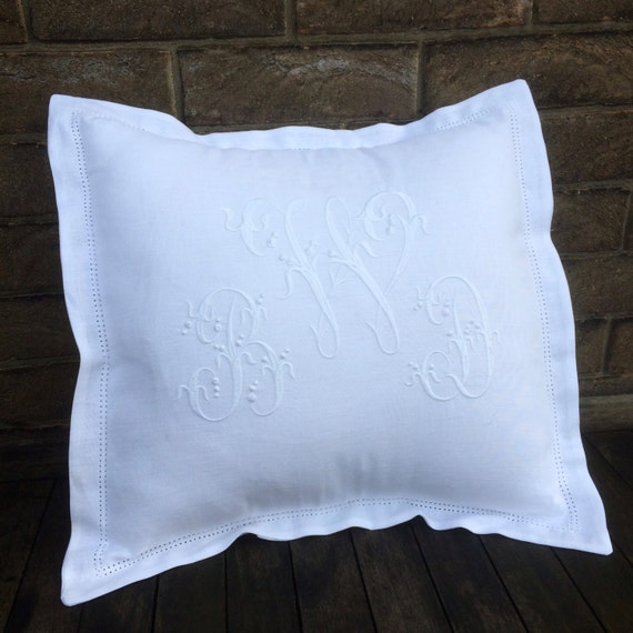 White Linen Monogram Pillow 16 X 16 Personalized Machine