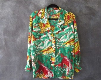 80s 90s Tropical Silk Blouse PJ Style Top Tiger Palm Leaf Raver Bold Long Sleeve Oxford Ladies M/L