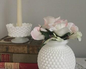 White hobnail vase, vintage hobnail vase, vintage milk glass vase, Round hobnail vase