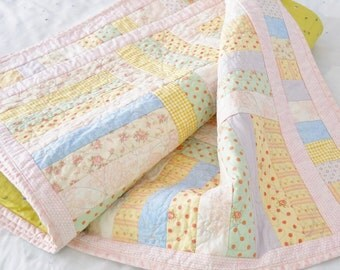 Pastel Baby Child's Quilt Pink Green Blue and Yellow Girls Quilt Polka Dots Stripes Free Motion  Flowers and Leaves Lap Quilt Wheelchair