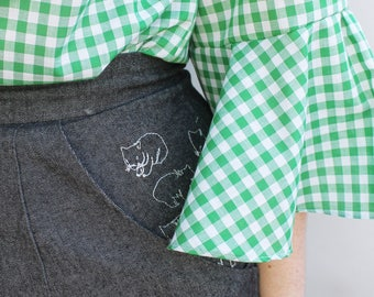 Wombat Embroidery Jeans - Dark Denim - Handmade by Alice - Only three made!