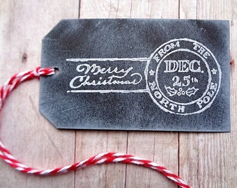 Merry Christmas Postmark Tags Chalkboard Style