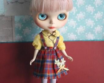 Blythe Vintage Cute Tartan Shirt and Skirt overall Set