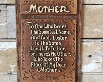 Vintage Mother Plaque Syroco Wood Sweet