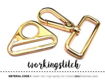 2sets ZINC Gold push gate hook Swivel hook and Triangle Rings