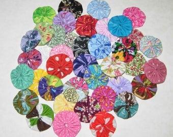 "Fabric YoYos, 40 Multi Color Miniatures, 1-1/4"" Size, Appliques, Embellishments, Crafting"