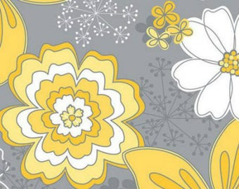 Yellow Matters, Floral Grey- by the YARD - Cotton Fabric