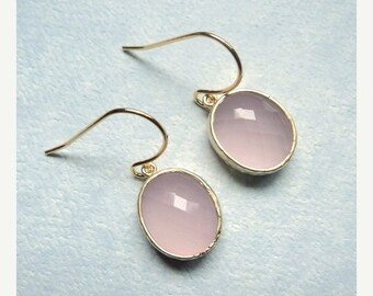 SALE Rose quartz pink glass dangles on gold french ear wires.  Everyday.  Bridal.