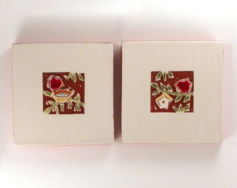 """ON SALE save 30%: Red birds in the garden Set of 2 handmade ceramic tiles, coasters or wall hanging 4"""" x 4"""""""
