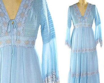 FAIRY TALE BLUE DReSS Briar Rose- Fairy sleeves < maxi dress vintage gauze dress  lined fully sz xs-s